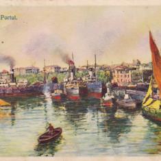 CONSTANTA PORTUL CIRCULATA 1939 EDITURA GRIGORE TRANDAFIRESCU CONSTANTA - Carte Postala Dobrogea dupa 1918, Printata