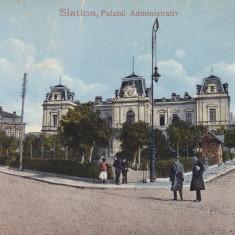 SLATINA PALATUL ADMINISTRATIV ED. LIBRARIEI G. POLICHRONIE SLATINA CIRC.1916 - Carte Postala Oltenia dupa 1918, Circulata, Printata