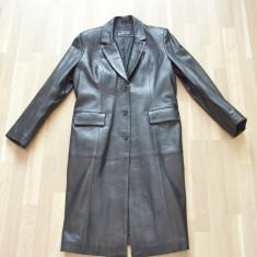 Haina, palton, pardesiu, piele, negru, femei, CA NOU ! PRET SOC ! - Palton dama, Marime: XL/XXL