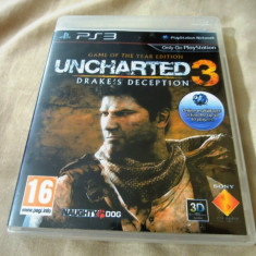 Joc Uncharted 3 Drake's Deception Goty Edition, PS3, alte sute de jocuri!, Actiune, 16+, Single player, Sony