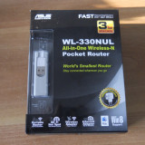 Router, Stick, Adaptor retea wireless mobil ASUS WL-330NUL 4-in-1. - Router wireless Asus, Port USB, Porturi LAN: 1