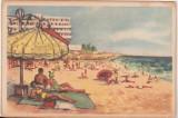 Bnk cp Eforie - Plaja - circulata 1958 - marca fixa, Printata