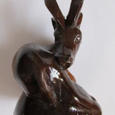 CAPRIOARA-sculptura in lemn, Animale