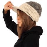 Căciulă din lână cu cozroc - ALB GRI - Caciula Dama, Culoare: Din imagine, Marime: One size