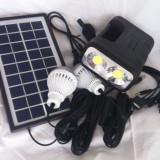 Kit panou solar fotovoltaic 2 becuri lanterna 2x3w LED incarcare telefon GD8037