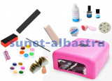 Kit UV Tera, unghii false, 12 geluri colorate+ lampa uv, accesorii, manichiura