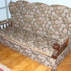 Canapea cu doua fotolii, masa si taburete, perioada anilor 1960, Art Modern, Dupa 1950