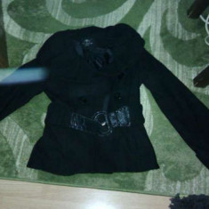 Palton elegant negru mas 38-40 curea inclusa - Palton dama, Marime: 36/38, Lana