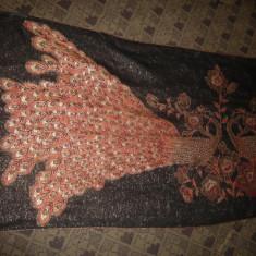 Esarfa- Sal Casmir marca Pashmina cu Pauni, fir auriu, 2 fete, 80x135 cm - Esarfa, Sal Dama, Marime: Marime universala