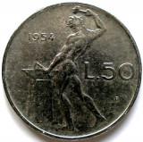 RAR ! ITALIA , 50 LIRE 1954 , PRIMUL AN DE BATERE !, Europa, Crom