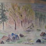 Corturi la Gura Diham, Busteni, Muntii Bucegi, PH - acuarela din expozitie - Pictor roman, An: 1986, Peisaje, Impresionism