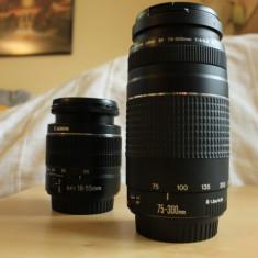 Canon EF 75-300mm f/4-5.6 III + Canon EF-S 18-55mm f/3.5-5.6 - Obiectiv DSLR Canon, Canon - EF/EF-S