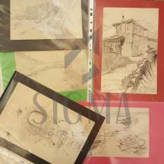 OTILIA MICHAIL OTETELESANU, 5 LUCRARI DE GRAFICA - BALCIC, MANGALIA, BRAN, TEHNICA - CREIOANE - Pictor roman