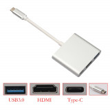 Cumpara ieftin Usb Type-C 3.1 la HDMI / USB3.0 / Type C mama, Macbook / Telefon / Tableta