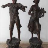 Pereche de statuete - Muzicanti - Sculptura, Antimoniu