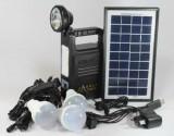 Panou solar fotovoltaic KIT iluminare 3 becuri lanterna incarcare telefon GD8033