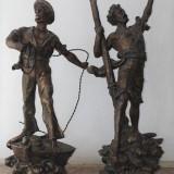 "Pereche de statuete ""Secours - Detrasse"" - Sculptura, Antimoniu"