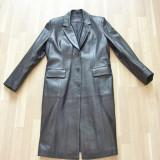 Haina, palton, pardesiu, piele, negru, femei, ca NOU ! - Palton dama, Marime: XL/XXL