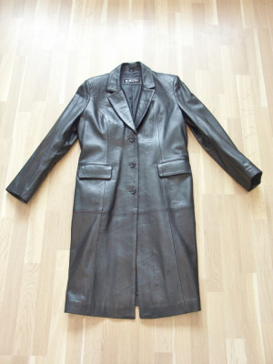 Haina, palton, pardesiu, piele, negru, femei, ca NOU ! foto