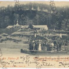 3106 - Litho, PIATRA NEAMT, Ferry ride - old postcard - used - 1901 - Carte Postala Moldova pana la 1904, Circulata, Printata