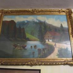 Rama tablou groasa interior 77x51cm grosime 7 cm arata ca noua, Decupaj: Dreptunghiular, Material: Lemn