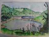 """LACUL PALTINU,cheile """"La Tocile"""", Valea Doftanei, PH - acuarela din expozitie, Peisaje, Impresionism"""