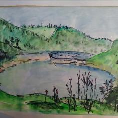"""LACUL PALTINU, cheile """"La Tocile"""", Valea Doftanei, PH - acuarela din expozitie - Pictor roman, An: 1987, Peisaje, Impresionism"""