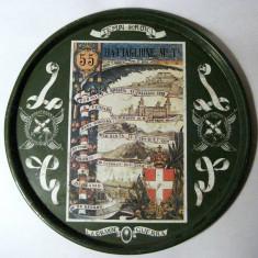 Tava metal platou WWI in memoria luptelor purtate de Batalionul 55 Italia