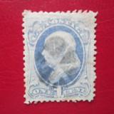 TIMBRE AMERICA 1870-1871 ULTAMARIN=1CENT FRANKLIN, Stampilat