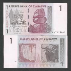 ZIMBABWE 1 DOLAR DOLLAR 2007, a UNC [1] P-65, aproape necirculata - bancnota africa