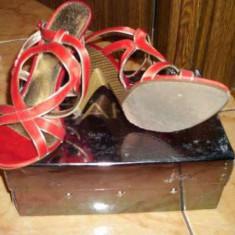 SANDALE BARU cumparate de la leonardo mas 36 ROSII - Sandale dama, Culoare: Rosu