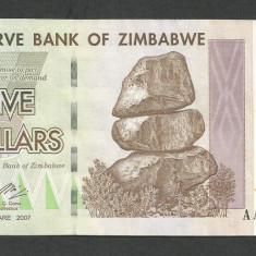 ZIMBABWE 5 DOLARI DOLLARS 2007 [2] P-66, XF++ - bancnota africa