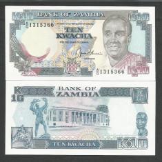 ZAMBIA 10 KWACHA 1989 1991 UNC [1] P-31b, necirculata - bancnota africa