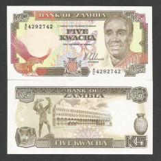ZAMBIA  5  KWACHA   1989  1991  ND   UNC   [1]  P-30a  ,  necirculata