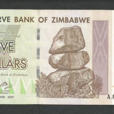 ZIMBABWE 5 DOLARI DOLLARS 2007 [1] P-66, XF++ - bancnota africa