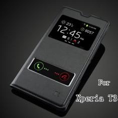 Husa piele neagra Sony Xperia T3 - Husa Telefon, Negru
