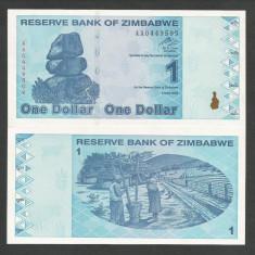 ZIMBABWE 1 DOLAR DOLLAR 2009 UNC [1] P-92, necirculata - bancnota africa