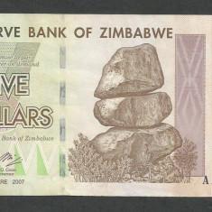 ZIMBABWE 5 DOLARI DOLLARS 2007 [4] P-66, XF+ - bancnota africa