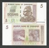 ZIMBABWE 5 DOLLARS DOLARI 2007 UNC [1] P-66 , necirculata