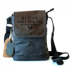 Borseta mica piele si canvas, marca Avirex
