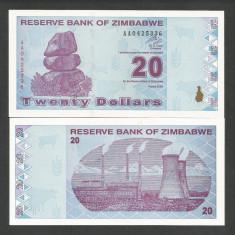 ZIMBABWE 20 DOLARI DOLLARS 2009 UNC [1] P-95, necirculata - bancnota africa