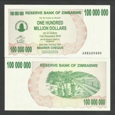 ZIMBABWE 100000000 100.000.000 DOLARI DOLLARS 2008 UNC [1] P-58 necirculata - bancnota africa