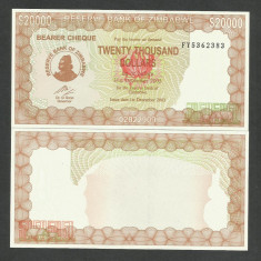 ZIMBABWE 20000 20.000 DOLARI DOLLARS 2003 2005 UNC [1] P-23f, necirculata - bancnota africa