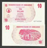 ZIMBABWE  10  DOLARI  DOLLARS  2006  2007    UNC  [1]   P-39  ,  necirculata