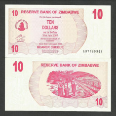 ZIMBABWE 10 DOLARI DOLLARS 2006 2007 UNC [1] P-39, necirculata - bancnota africa