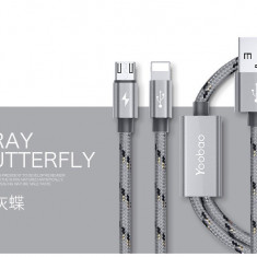 Cablu 2 in 1 Lightning Micro Usb YB-452 Grey 120cm by Yoobao - Cablu de date Yoobao, iPhone 6