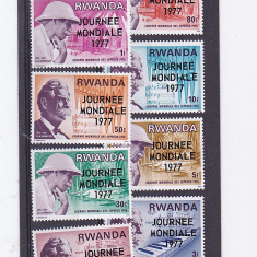 Ziua mondiala a medicinii, Dr Schweitzer, supratipar, Rwanda . - Timbre straine, Nestampilat