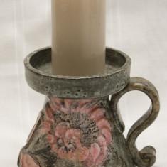 Suport lumanare din ceramica, model floral stilizat