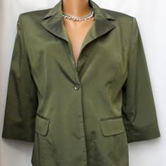 Sacou elegant verde muschi, aspect metalizat, marimea 40