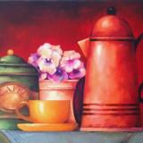 Tablou pictura -flori - Pictor roman, Ulei, Miniatural